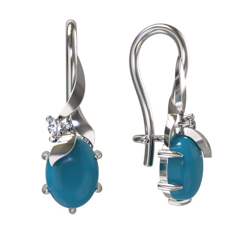 Серебряные серьги с искусственной бирюзой и фианитом 1032442-01130-б