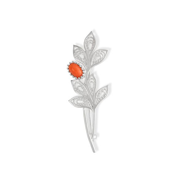 Серебряная брошь с синтетическим кораллом арт. 42120033/кр 42120033/кр