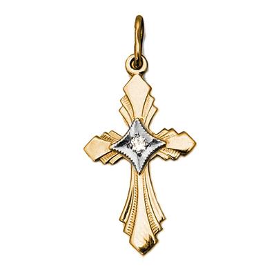 Золотой крест с бриллиантом арт. 28530010 28530010
