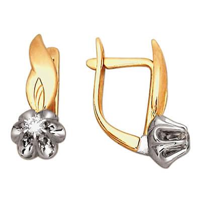 Золотые серьги с бриллиантом арт. 28510043 28510043