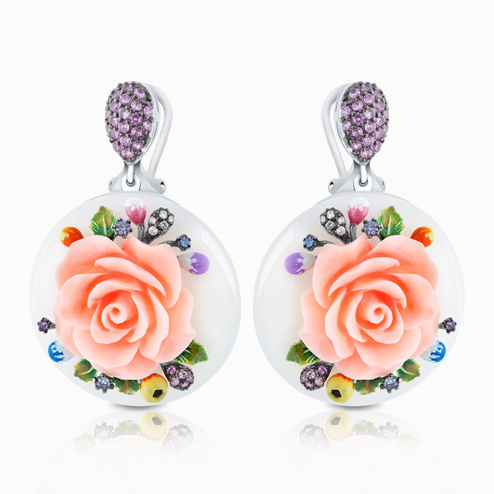 Серебряные серьги с искуственным корал, ониксом, цирконием и эмалью арт. 03378 03378