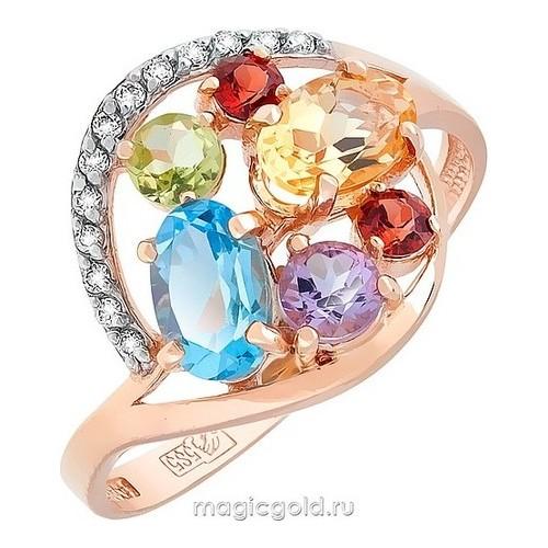 Золотое кольцо Аметист, Гранат, Топаз, Фианит, Хризолит и Цитрин арт. кл-452к-агтхц кл-452к-агтхц
