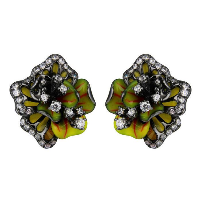 Серебряные серьги с цирконием и эмалью арт. se0596-z-b12 se0596-z-b12