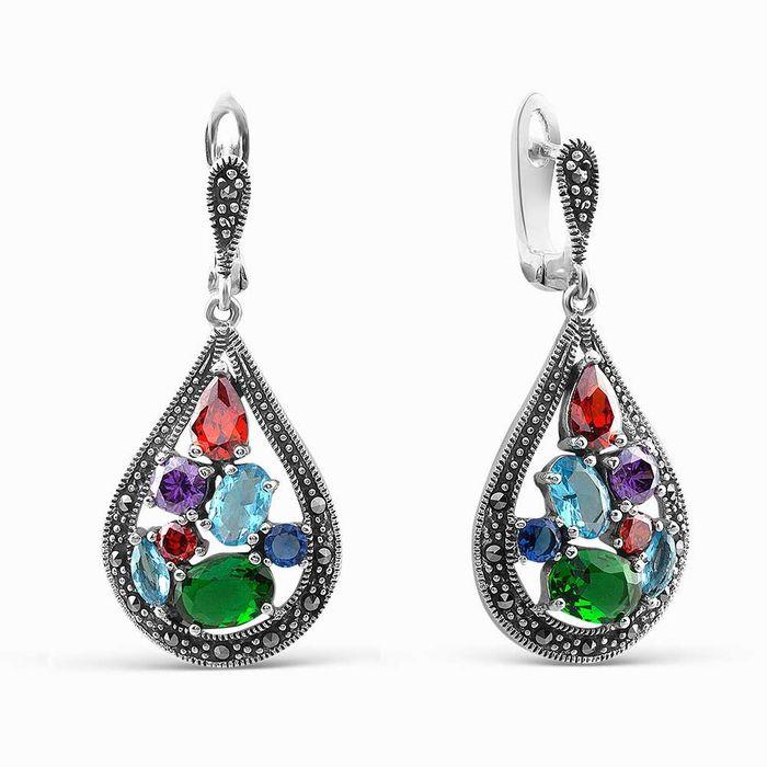 Серебряные серьги с марказитом и цирконием арт. 05478 05478