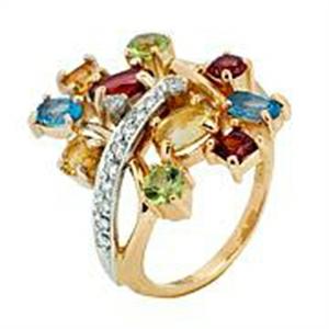 Золотое кольцо Бриллиант, Гранат, Топаз, Хризолит и Цитрин арт. 91621293 91621293