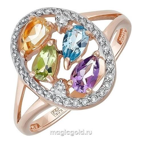Золотое кольцо Аметист, Топаз, Фианит, Хризолит и Цитрин арт. кл-672к-атхц кл-672к-атхц