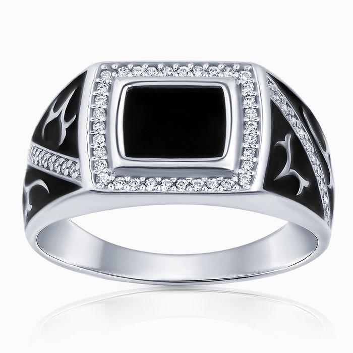 Серебряное кольцо Оникс, Фианит и Эмаль арт. 47299 47299