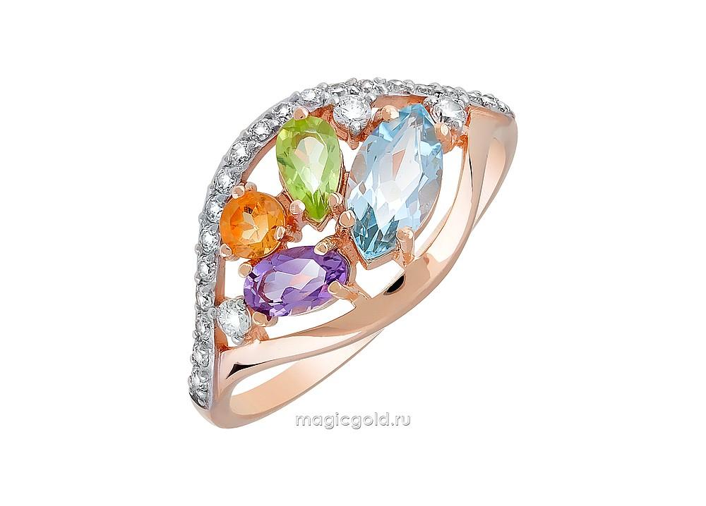 Золотое кольцо Аметист, Топаз, Фианит, Хризолит и Цитрин арт. кл-546к-атхц кл-546к-атхц