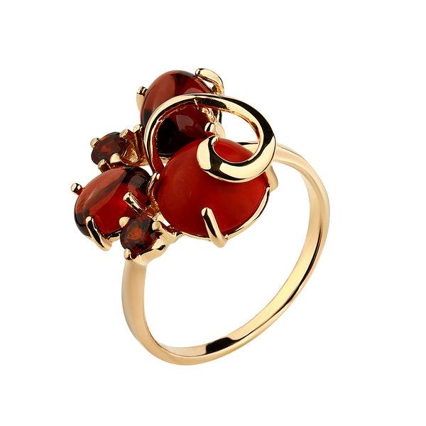 Золотое кольцо Гранат, Коралл, Фианит и Хризолит арт. 1410361 1410361
