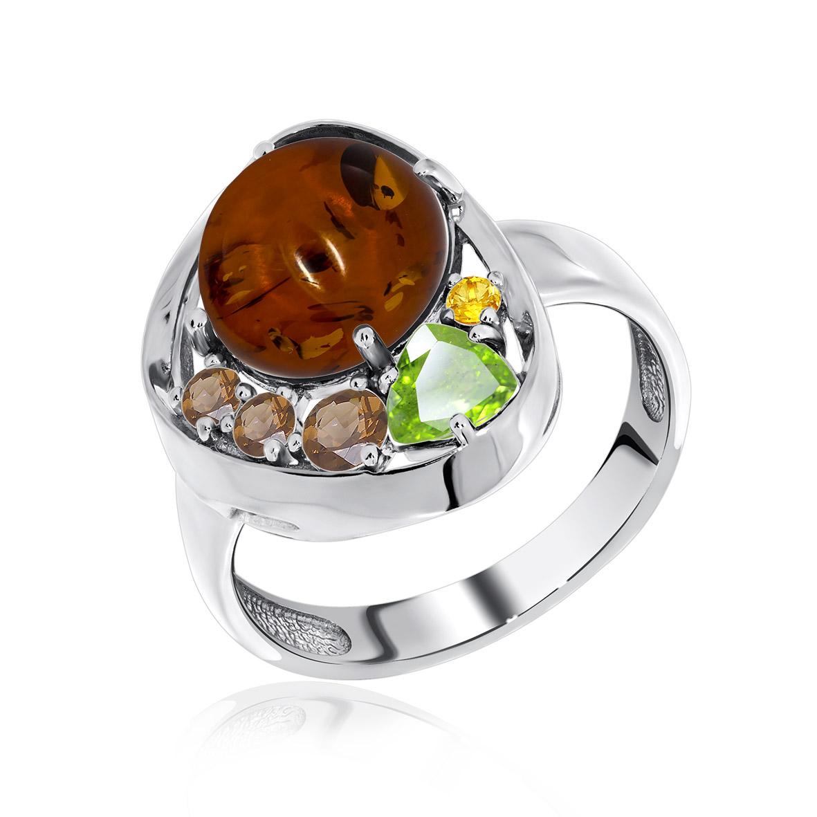 Серебряное кольцо Прочие, Фианит и Янтарь арт. 1340861170 1340861170