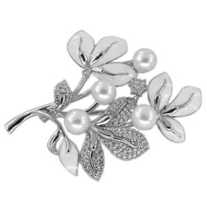 Серебряная брошь с кристаллом сваровски, цирконием и эмалью арт. 90-04-0137 90-04-0137